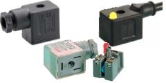 Magnetventilstecker, Gerätestecker, Ventilsteckdosen, Bauform B-Industrie, mit und ohne Kabel