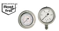 Chemiemanometer, Glyzerinmanometer, Industrie-Manometer aus Edelstahl