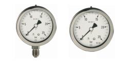 Rohrfeder Chemiemanometer mit Glyzerinfüllung, axial/waagerecht und radial/senkrecht, 63mm