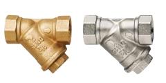 Schmutzfänger aus Messing und Messing vernickelt - Sieb auswechselbar - 50, 200, 300 und 500 µm - schrägsitzend